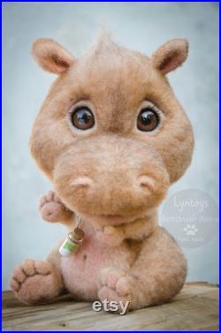Hippopotamus needle felted toy, Original Felted Toy, Wild animal sculpture, Cute Fantasy Creature, Furry pet plush, Entertaining Gift