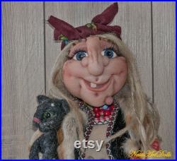 Housewarming Gift, Art Doll Baba Yaga with Cat, Witch , Fairy Tale Doll, Fabric Doll, Fantasy Doll, Cloth Rag Doll, Whimsical Magical Doll
