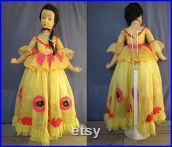 Lenci Spanish Boudoir Doll Vintage, 38 inch Italian Felt Lenci Doll, 1930 Scavini Lenci Spanish Boudoir Doll