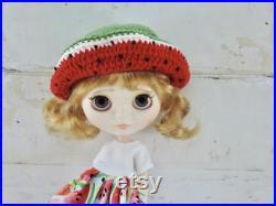 Lightly Customized Blythe Doll by BeBe Blythe Co, Blythe Dolls, Custom Blythe Doll, Watermelon Blythe Doll, OOAK Doll, Blonde Hair Blythe
