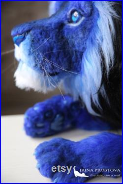 Lion toy (FOR EXAMPLE, for order) Plush toy, Blue lion, Poseable art doll,Handmade collectible animal by photo art doll Stufed lion toy.