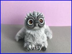 Little owl Art doll grey owl plush toy miniature ooak owl fantasy animal art doll poseable