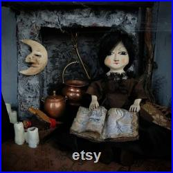 MADE TO ORDER Queen Anne style wooden tiny witch doll. Replica antique. Halloween decor. Old and vintage fabric dressing ooak doll.