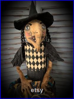 MUSTARD SEED ORIGINALS-Primitive Witch-Primitive Witch Doll-Halloween-Halloween Witch-Witch Doll-Handmade Witch-Halloween Collectible-Dolls