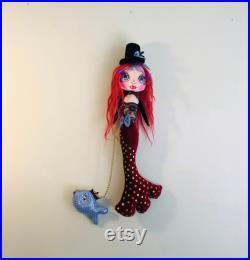 Mermaid doll with pet fish, 30 goth cloth art doll, ooak decorative rag doll, art gift