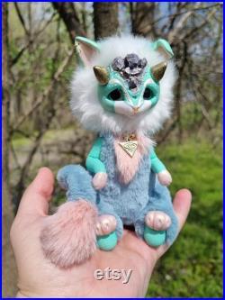 Mint fantasy creature Kawaii plush doll Creepy cute mythical beast OOAK plush animal Poseable stuffed animal Handmade collectible animal