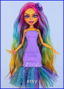 Monster High OOAK doll with rainbow hair, Collectible art doll, Monster High repaint doll