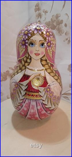 Music Tumbler,Roly-Poly nesting doll matryoshka babushka doll Russian varnisnesting doll Russian varnish Palekh matryoshka gold potal