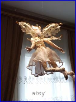 OOAK Art Doll Flower Fairy , of porcelain clay, unique doll, Author Interior Doll, Fairy mobile, handmade doll