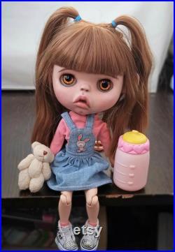 OOAK Custom Blythe Doll molded from clay , Custom Blythe , Custom Dolls , Blythe Doll Custom , Blythe Dolls , Blythe Doll with brown Hair