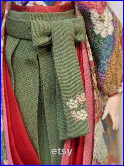 OOAK DOLL OUTFIT Silk Yuzen Kimono With 2 Obi Hakama Hand Sewing For 1 6 Custom Doll Obitsudoll27 Jenny Momoko Outfit Only