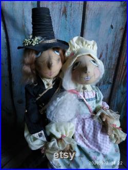 OOAK Interior dolls Shepherdess and Chimney sweep Art Dolls Handmade textile dolls Pair dolls Wonderful wedding gift