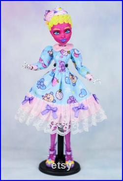 OOAK Monster High repaint doll Blob, Collectible art doll, Sweet-themed doll