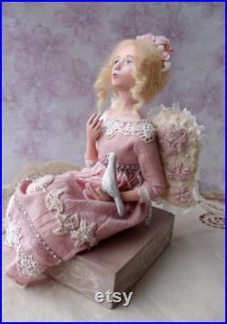 OOAK art doll angel shabby chic fairy artwork tender angel statue unique wedding gift, gentle doll, true love art, luxury gift for her
