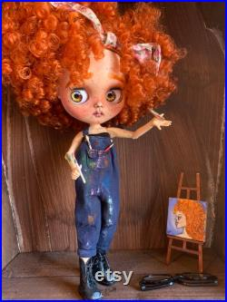 Painter artist bluthe doll OOAK big red curly hair painting