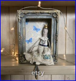 Paper mache art doll in handmade shrine, folk art doll, handmade princess doll