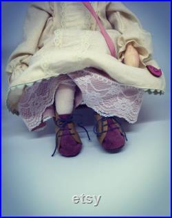 Polianna, Waldorf inspired doll, ooak, natural fiber, sculpted, wool