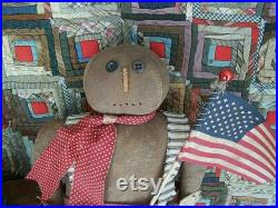 Primitive Gingerbread Doll, Christmas Farmhouse Decor, Rustic Americana Black Doll, Wool Pants and American Flag Ready to Ship