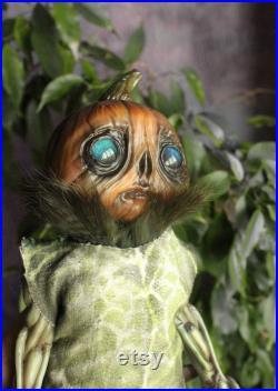 Pumpkin head creepy cute doll gothic Halloween doll