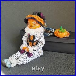 Pumpkin head gothic creepy halloween doll. OOAK art doll handmade