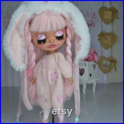 READY FOR SHIPPING present Ooak custom Blythe doll pink rabbit custom blythe dol art doll Blythe doll