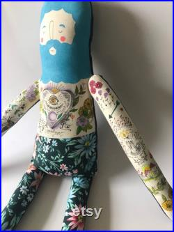 Ready to ship- Large sized Tattooed Boyfriend plush doll. Blue hair with planchette chest piece