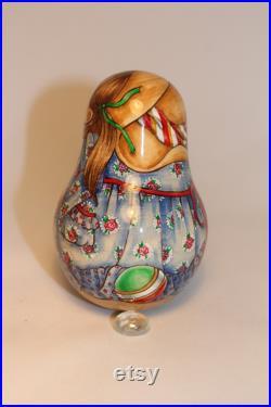 Russian Author's doll Katyusha Roly Poly Doll Matryoshka No nesting H 4,33 inches (11 cm)
