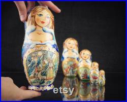 Russian nesting dolls Christmas Snow Maiden Stacking doll Russian doll with Swarovski crystals Russian christmas Matryoshka