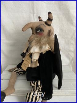 Scapegoat Handmade Doll Primitive Halloween Devil Folk Art