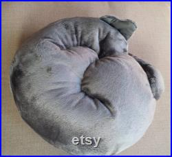 Shorty Goldman, grey stuffed toy cat snuggled in a circle. Collectible cat, art doll, soft sculpture, plushie, animal, handmade, cuddly gift