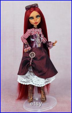 Steampunk art doll, OOAK Monster High doll, Steampunk decor, Repainted doll