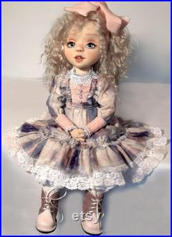 Textile doll for interior decoration. The doll is 23 inches (58 cm) tall. The interior doll is a wonderful gift. Big beautiful doll.