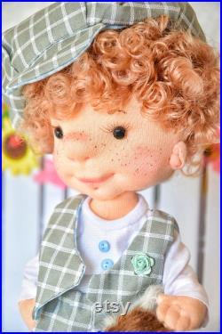 Textile doll ,handmade doll, boy doll, decor, curly doll, Poupée Chiffon, Puppen, Bambole, Mu ecasl, Russian Baby Doll, Love Decor