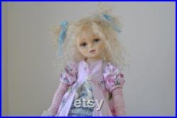 Textile doll handmade dolls art doll boudoir charming collectible fabric doll