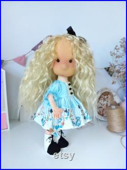 Textile doll in blue dress, Alice in Wonderland art doll, art doll, tilda doll in dress, waldorf doll, personalized gift doll