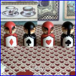 The Queen of Hearts and her soldiers. Collector's set. Hand painted wooden Alice in Wonderland art doll with stand. Carroll Burton Disney