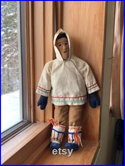 VINTAGE Inuit Eskimo male DOLL cotton, boots, ties about 9 high