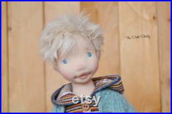 Waldorf doll boy CUSTOM art Waldorf inspired collectable handmade ooak doll wool cloth textile fabric needle felted soft sculpture