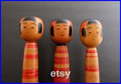 kokeshi japanese doll vintage traditional Tsuchiyu style a trio 25 cms 9,8 inches free fast and tracked shipping